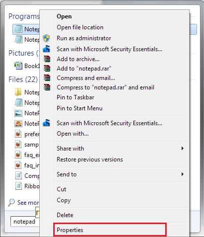 Notepad-Shortcut-Properties
