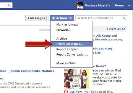 پیام های فیس بوک, افزونه گوگل کروم, حذف پیام های فیس بوک