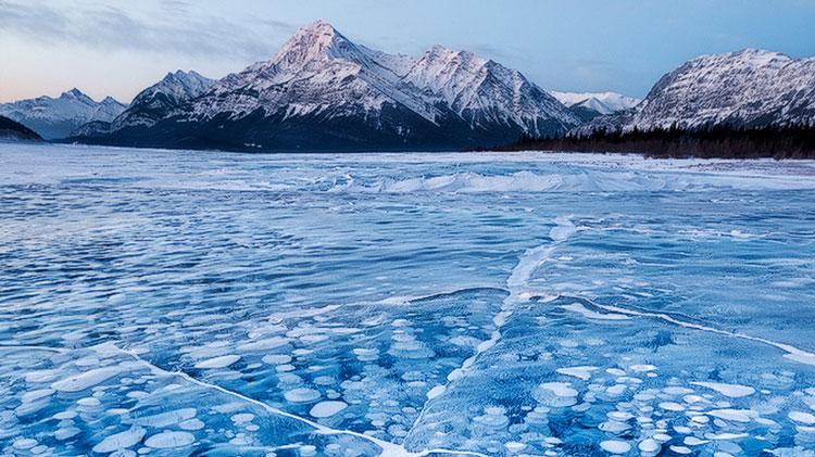 حبابهای یخ در دریاچه آبراهام
