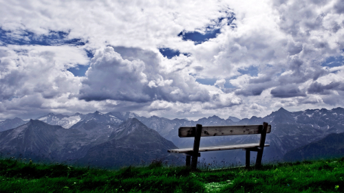 Bench over the green mountains