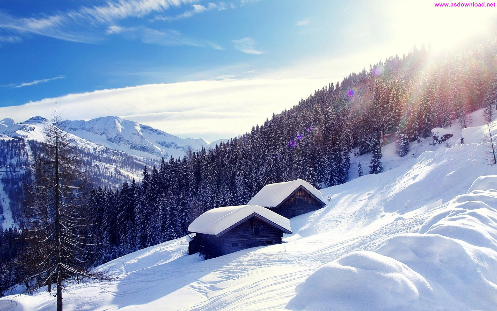 Snowy Mountain Cottage Wide Wallpaper دانلود والپیپر جدید 2015
