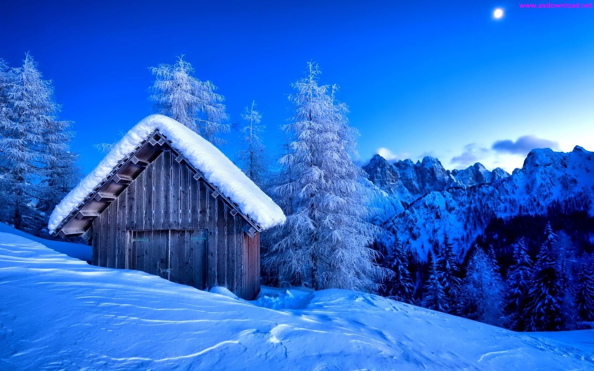 Winter Night Mountain Landscape HD Wallpaper 1920x1200 دانلود والپیپر جدید 2015